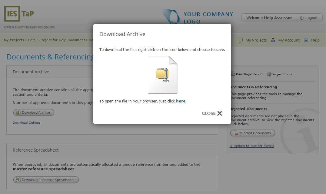 IES TAP - download archive option